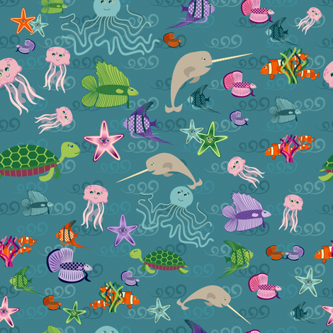 Underwater Menagerie Ditsy fabric by jubilli on Spoonflower - custom fabric