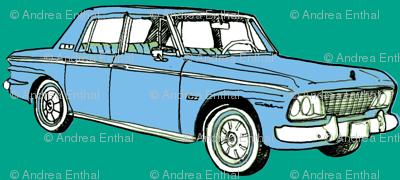 pale blue 1964 1965 Studebaker Lark Cruiser on teal background