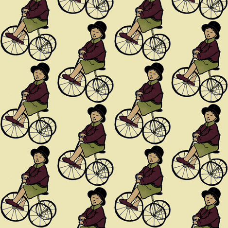 Boy on Tricycle fabric by edsel2084 on Spoonflower - custom fabric