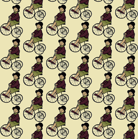 Boy on Tricycle (5 color, small size) fabric by edsel2084 on Spoonflower - custom fabric