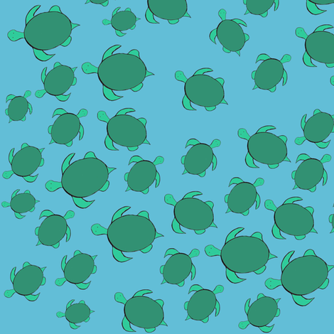 Turtle Traffic Jam (ditsy print) fabric by dangersquirrel on Spoonflower - custom fabric