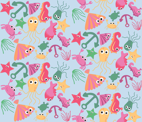 sea creatures 3  fabric by jlwillustration on Spoonflower - custom fabric