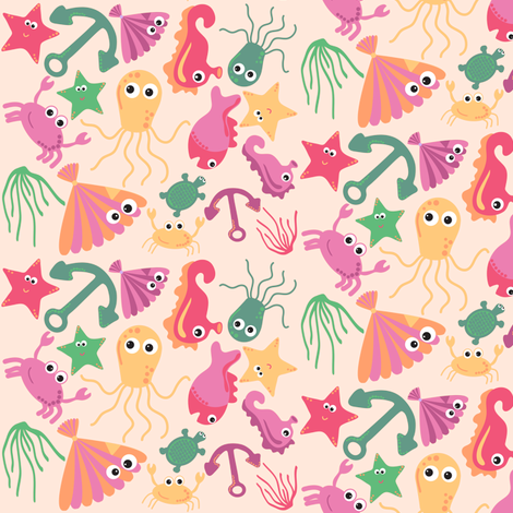 sea_creatures_cream fabric by jlwillustration on Spoonflower - custom fabric