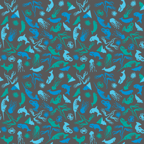 Arctic Ditsy Sea Creatures - Soapstone fabric by aldea on Spoonflower - custom fabric