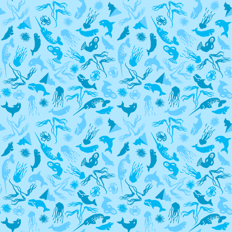 Arctic Ditsy Sea Creatures - Ice fabric by aldea on Spoonflower - custom fabric