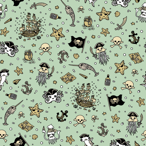 Ditsy Pirates Pale Blue fabric by teja_jamilla on Spoonflower - custom fabric