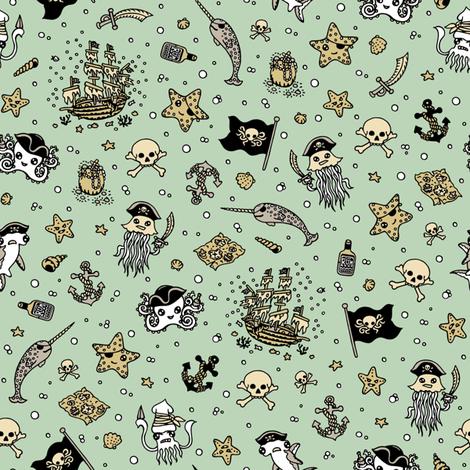 Ditsy Pirates Pale Blue fabric by teja_jamilla on Spoonflower - custom fabric