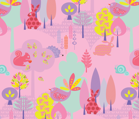 Candy Colored Forest fabric by kayajoy on Spoonflower - custom fabric