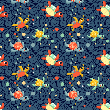 Ditsy Sea Turtles fabric by irrimiri on Spoonflower - custom fabric