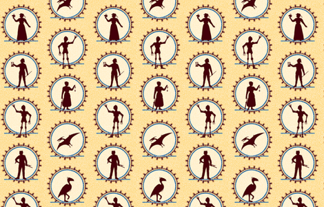 Steampunk Victorian Character Silhouettes -- Small version  ©2012 by Jane Walker fabric by artbyjanewalker on Spoonflower - custom fabric