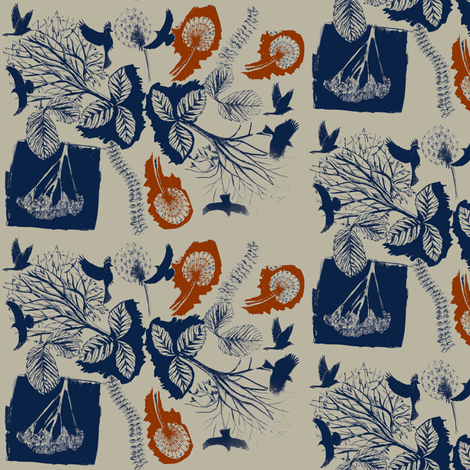 Birds amongst Dandelions and trees fabric by sary on Spoonflower - custom fabric