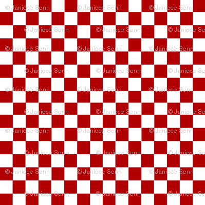 Red and White checkerboard.