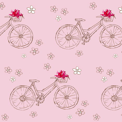Flower Basket Pink Bike fabric by countrygarden on Spoonflower - custom fabric