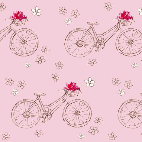 Flower Basket Pink Bike fabric by countrygarden on Spoonflower - custom fabric