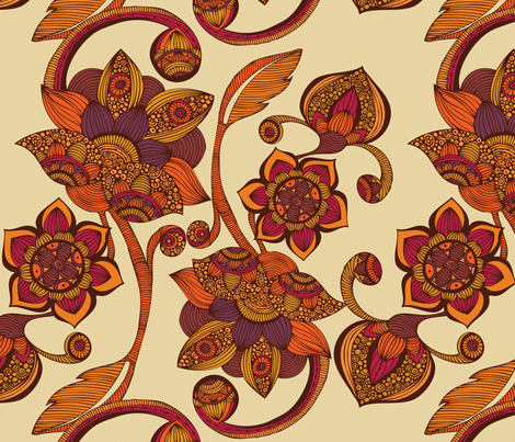 Boho Flowers fabric by valentinaharper on Spoonflower - custom fabric