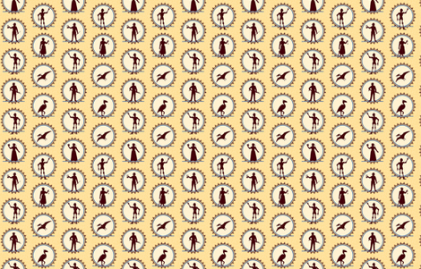Steampunk Victorian Character Silhouettes -- Tiny version  ©2012 by Jane Walker fabric by artbyjanewalker on Spoonflower - custom fabric