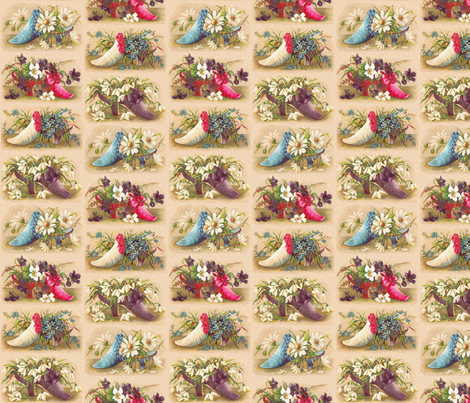 Floral victorian shoes fabric engravogirl spoonflower for Victorian floral fabric