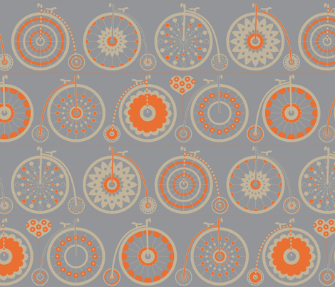 Bicycle Love - grey & orange fabric by kayajoy on Spoonflower - custom fabric