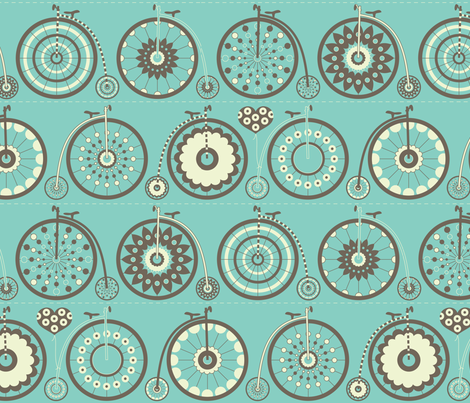 Bicycle Love - turquoise & charcoal fabric by kayajoy on Spoonflower - custom fabric