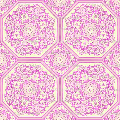 Persian Tile ~ Pink & Cream