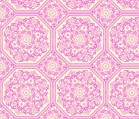 Persian Tile ~ Pink & Cream fabric by peacoquettedesigns on Spoonflower - custom fabric