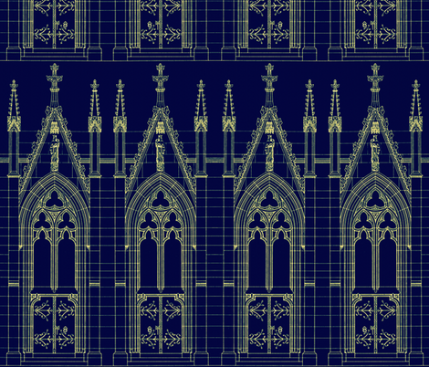 Church Door Blue Print fabric by peacoquettedesigns on Spoonflower - custom fabric