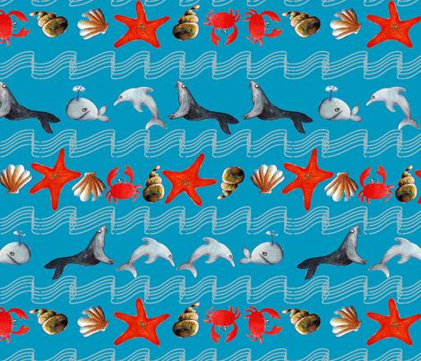 océan oh bleu L fabric by nadja_petremand on Spoonflower - custom fabric