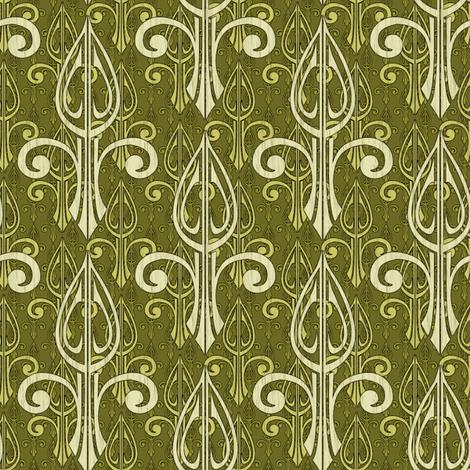 fleurdelis-pjr2_triple_olive fabric by glimmericks on Spoonflower - custom fabric