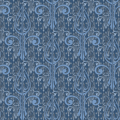 fleurdelis-pjr2_triple_olde_blue fabric by glimmericks on Spoonflower - custom fabric