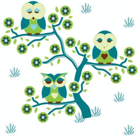 Sleepy Owls sitting in a tree fabric by squeakyangel on Spoonflower - custom fabric