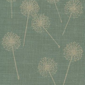 Dandilion on Vintage Robins Egg Blue Burlap