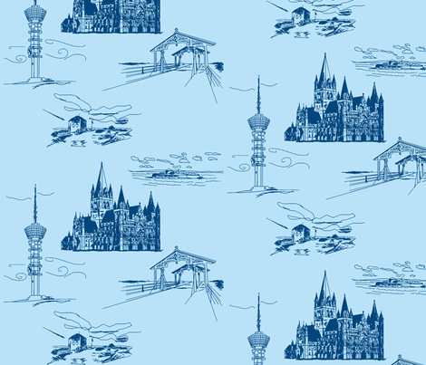 Trondheim, At Æ Reist Ifra Dæ fabric by annekul on Spoonflower - custom fabric
