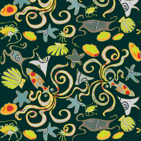 sea-creatures-ditsy-dk fabric by wren_leyland on Spoonflower - custom fabric