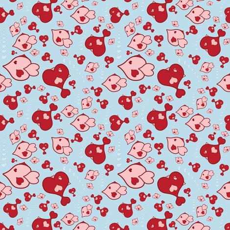 Heart Fish fabric by dollyw on Spoonflower - custom fabric