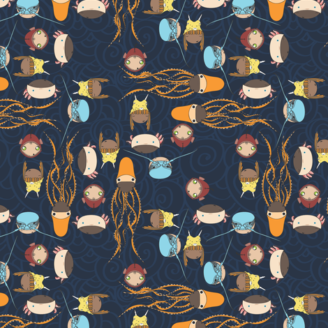 Horrible Deep Sea Creatures turned cute ^_^ fabric by majobv on Spoonflower - custom fabric