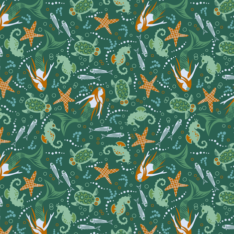 Sea ditsy fabric by cjldesigns on Spoonflower - custom fabric