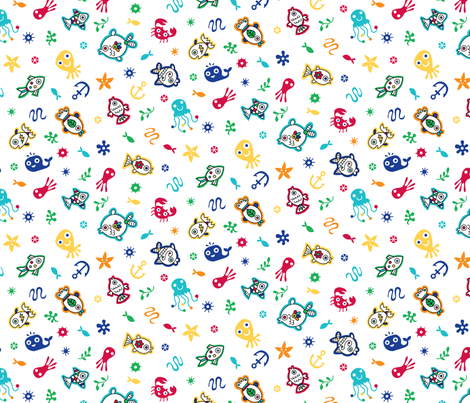 Sea Creature Ditsy Fun fabric by andibird on Spoonflower - custom fabric