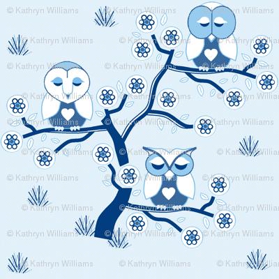 Sleepy Owls in blue & white