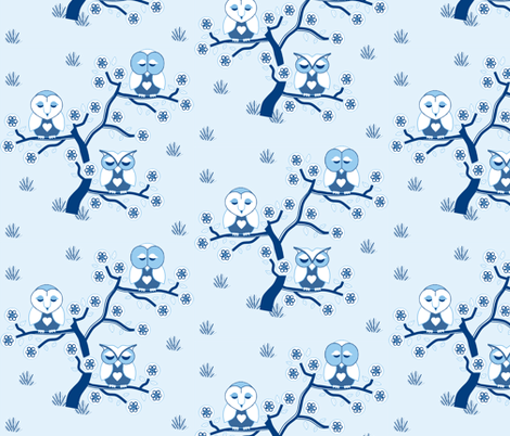 Sleepy Owls in blue & white fabric by squeakyangel on Spoonflower - custom fabric