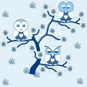 Sleepy Owls in blue & white