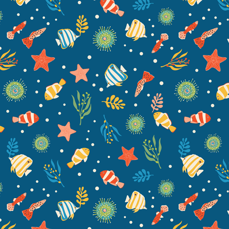 Ditsy Butterflies, Clowns, Anemones & More (Dark Blue) fabric by gracedesign on Spoonflower - custom fabric