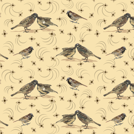 Bird, Chick & Swirls 2 fabric by petals_fair_-_peggy_brown on Spoonflower - custom fabric