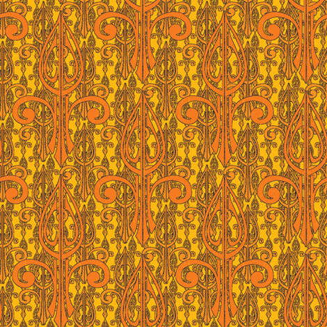 fleurdelis-pjr2_triple_tangerine gold fabric by glimmericks on Spoonflower - custom fabric