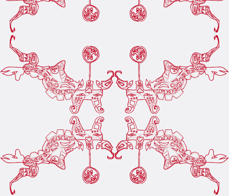 Red Totem Medallions fabric by boris_thumbkin on Spoonflower - custom fabric