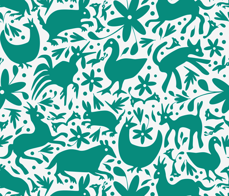 Mexico Springtime: Teal on White (Large Scale) fabric by sammyk on Spoonflower - custom fabric