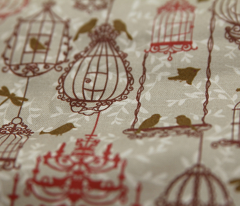 Birds and cages vintage pattern.