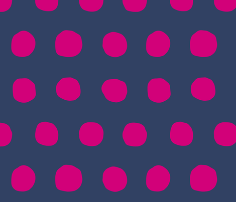 Jumbo Dots in navy/fuschia fabric by domesticate on Spoonflower - custom fabric