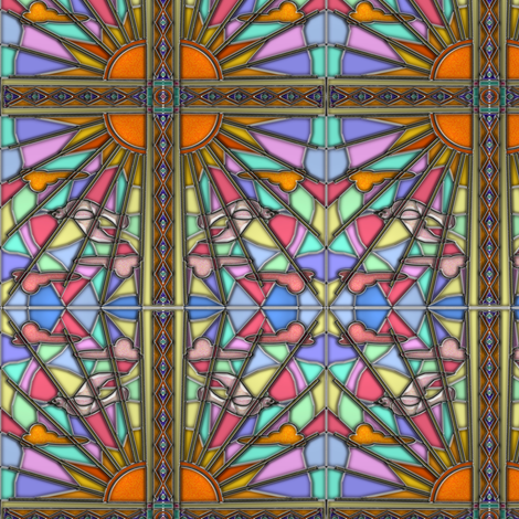 Dawn Dove Stained Glass 2 fabric by eclectic_house on Spoonflower - custom fabric