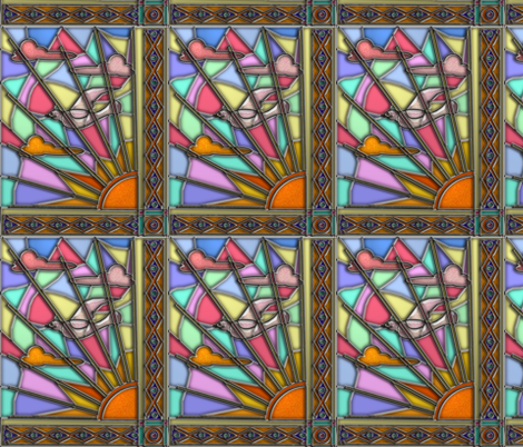 Dawn Dove Stained Glass 3 fabric by eclectic_house on Spoonflower - custom fabric