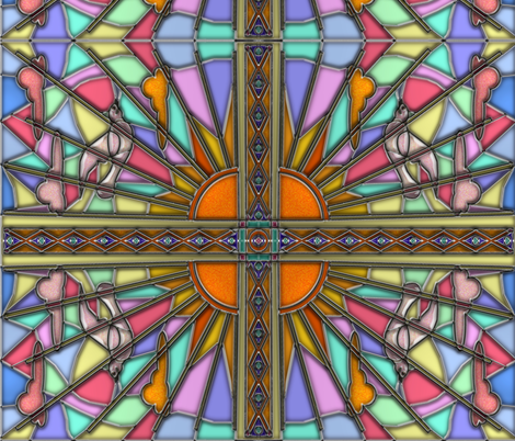 Dawn Dove Stained Glass 4 fabric by eclectic_house on Spoonflower - custom fabric
